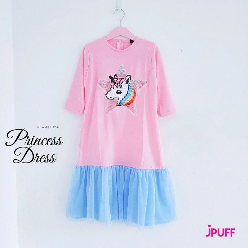 Gamis Dress Tutu Sequin - Pinky Sky Star Unicorn