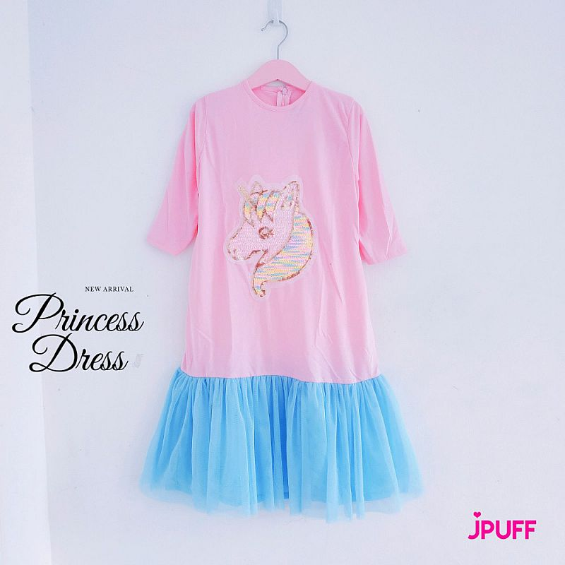 Gamis Dress Tutu Sequin - Pinky Sky Glowing Unicorn