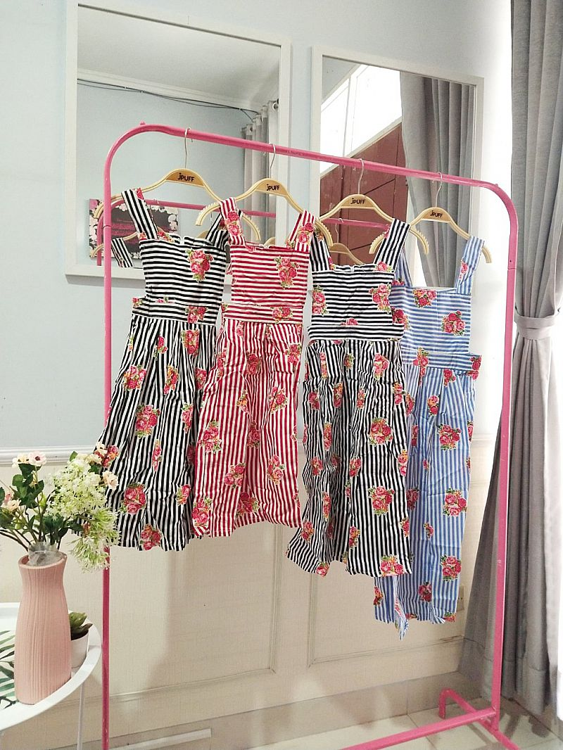 8098 Anak | Annie Overall Anak - Cute Striped Floral