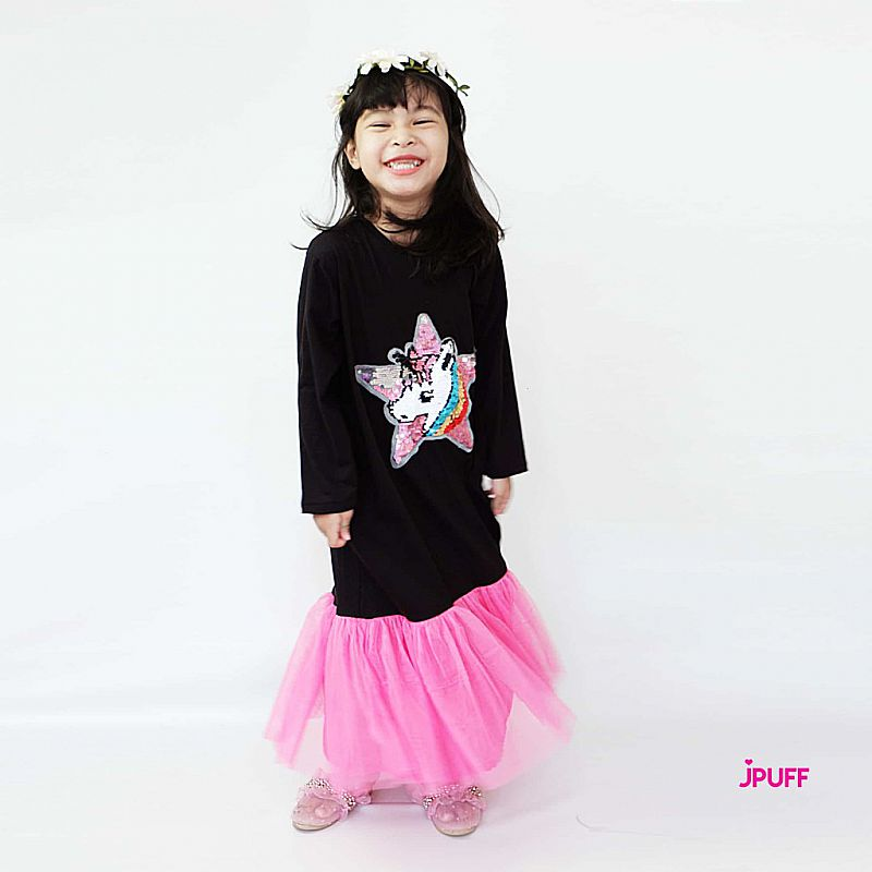 Gamis Dress Tutu Sequin - Black Pink Star Unicorn - DT07HF